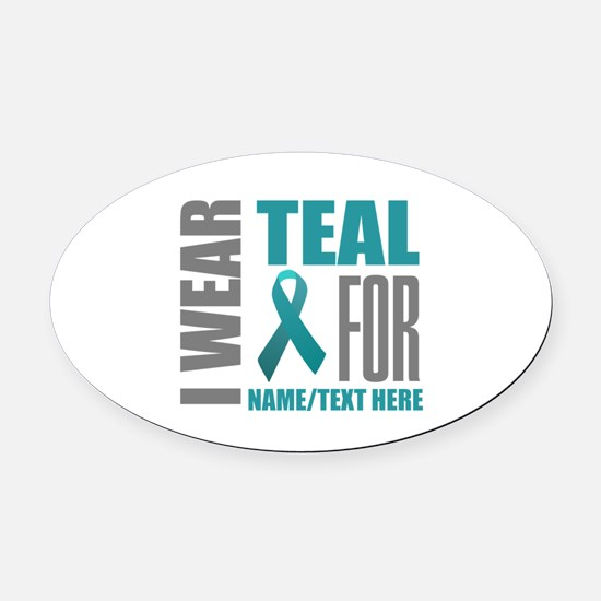 Teal Awareness Ribbon Customized Oval Car Magnet