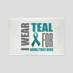 Teal Awareness Ribbon Customized Rectangle Magnet