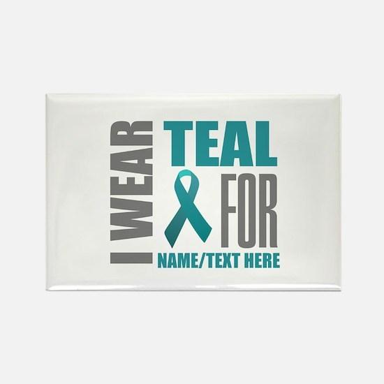 Teal Awareness Ribbon Customized Rectangle Magnet