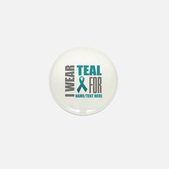 Teal Awareness Ribbon Custom Mini Button (10 pack)