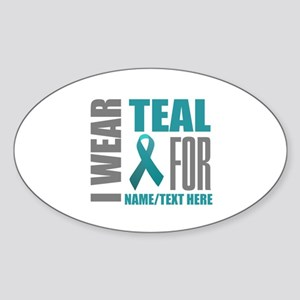 Teal Awareness Ribbon Customized Sticker (Oval)