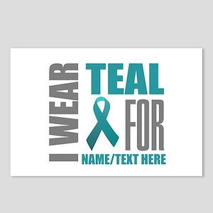 Teal Awareness Ribbon Cus Postcards (Package of 8)