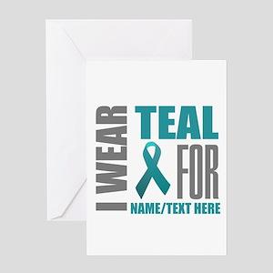 Teal Awareness Ribbon Customized Greeting Card