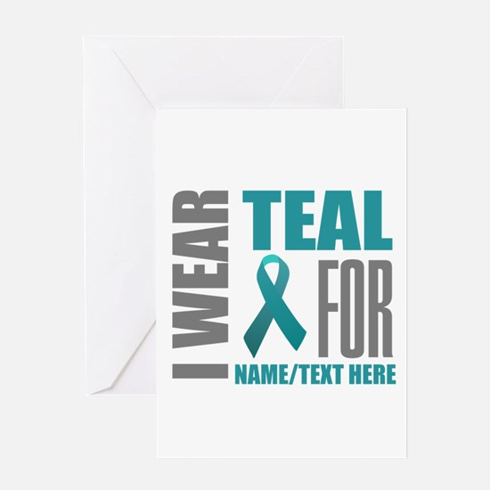 Teal Awareness Ribbon Customized Greeting Card