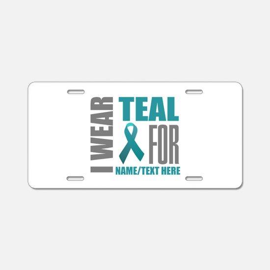 Teal Awareness Ribbon Custo Aluminum License Plate