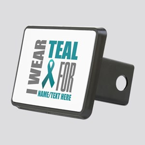 Teal Awareness Ribbon Cust Rectangular Hitch Cover
