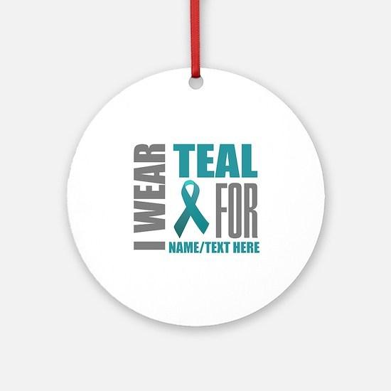 Teal Awareness Ribbon Customized Round Ornament