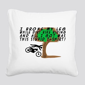 Dirt Bike Into Tree Square Canvas Pillow