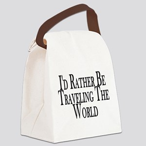 Rather Travel The World Canvas Lunch Bag