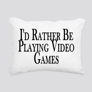Rather Play Video Games Rectangular Canvas Pillow