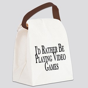 Rather Play Video Games Canvas Lunch Bag
