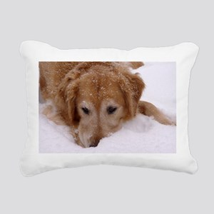 Winter Golden Retriever Rectangular Canvas Pillow