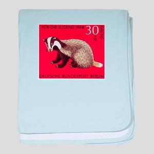 Badger 1968 German Postage Stamp baby blanket