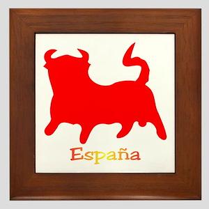 Red Spanish Bull Framed Tile