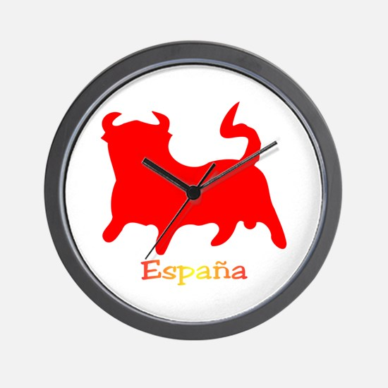 Red Spanish Bull Wall Clock
