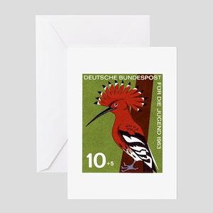 Woodpecker 1963 German Postage Stamp Greeting Card