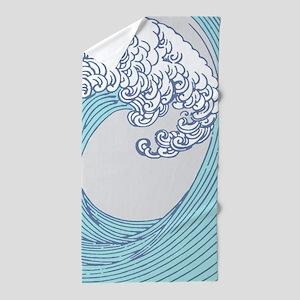 Japanese Wave Blue Beach Ocean Seashor Beach Towel