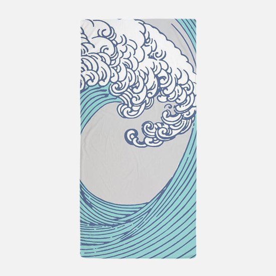 Japanese Wave Blue Beach Ocean Seashor Beach Towel