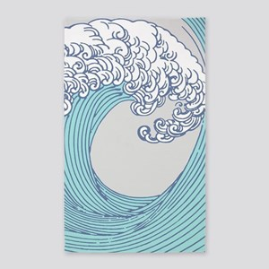Japanese Wave Blue Beach Ocean Seashore Area Rug