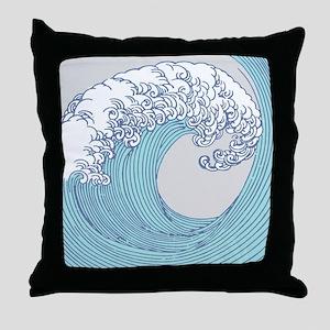 Japanese Wave Blue Beach Ocean Seasho Throw Pillow