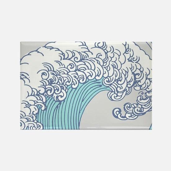 Japanese Wave Blue Beach Ocean Seashore Magnets