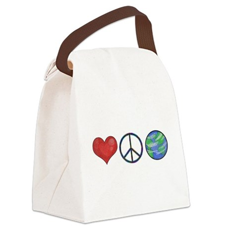 Love Peace Earth Canvas Lunch Bag