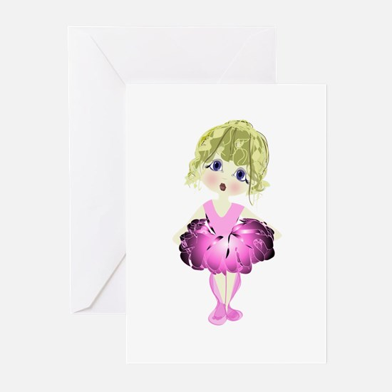 Ballerina in Pink Tutu art Greeting Cards (Pk of 2
