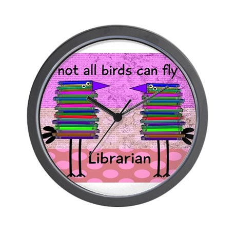 librarian not all birds can fly PINK Wall Cloc