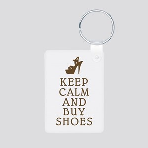 KEEP CALM AND BUY SHOES BROWN Aluminum Photo K