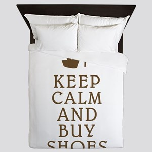 KEEP CALM AND BUY SHOES BROWN Queen Duvet