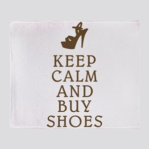 KEEP CALM AND BUY SHOES BROWN Throw Blanket