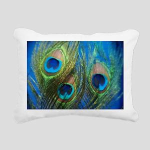 Blue Peacock Feather Rectangular Canvas Pillow