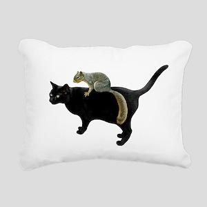 Squirrel on Cat Rectangular Canvas Pillow