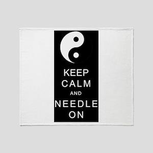 Keep Calm And Needle On Throw Blanket