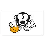 Basketball Monkey Sticker (Rectangle 50 pk)