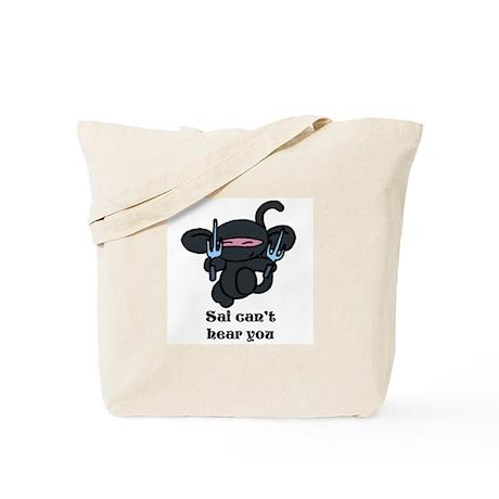 Black Sai Minky with words Tote Bag