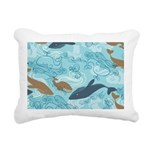 Whale Waves Brown Blue Rectangular Canvas Pillow