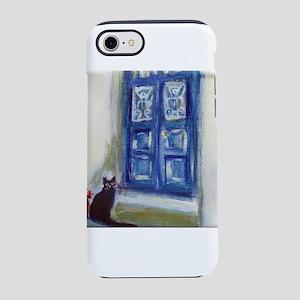 Black Cat Santorini Greece iPhone 7 Tough Case