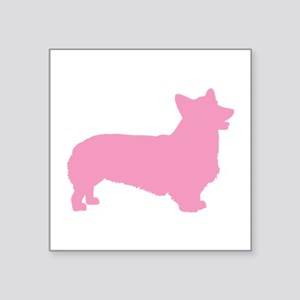 "pembroke welsh corgi pink Square Sticker 3"" x"