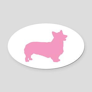 pembroke welsh corgi pink Oval Car Magnet