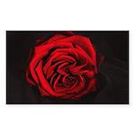 Red Rose flower Sticker (Rectangle 50 pk)