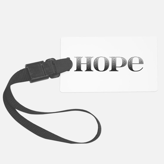 Hope Carved Metal Luggage Tag