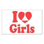 I Heart Girls Sticker (Rectangle 50 pk)