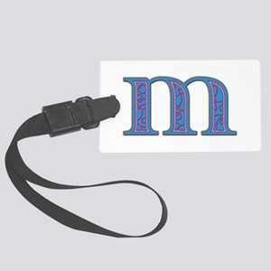 M Blue Glass Large Luggage Tag