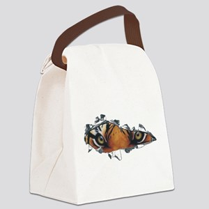 Tiger eyes in torn steel Canvas Lunch Bag