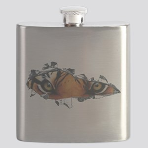 Tiger eyes in torn steel Flask