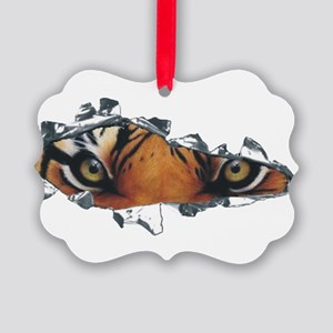 Tiger eyes in torn steel Picture Ornament