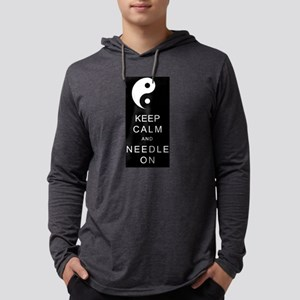 Keep Calm And Needle On Mens Hooded Shirt