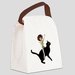 Skeleton on Cat Canvas Lunch Bag