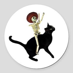 Skeleton on Cat Round Car Magnet